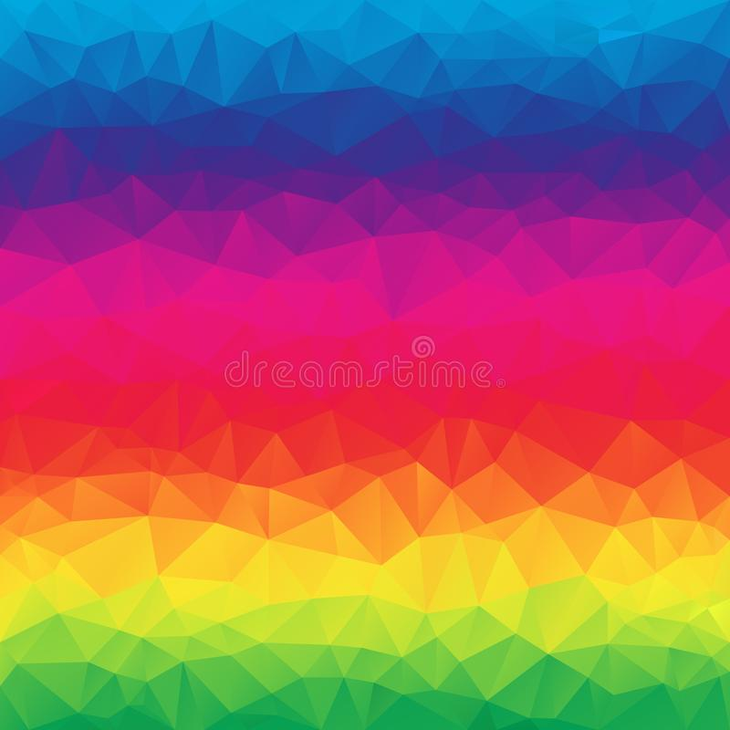 Vector o fundo quadrado poligonal irregular abstrato - baixo teste padrão poli do triângulo - inclinação do espectro do arco-íris ilustração royalty free