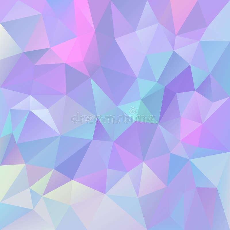 Vector o fundo quadrado poligonal irregular - baixo teste padrão poli do triângulo - colo violeta, roxo, cor-de-rosa e azul holog ilustração stock