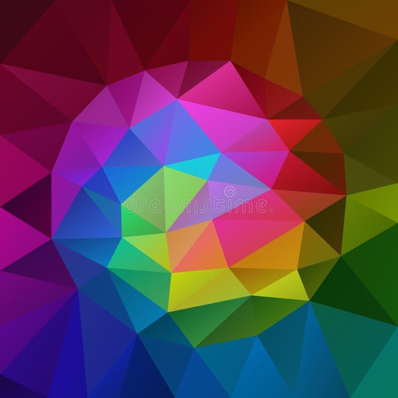 Vector o fundo quadrado poligonal irregular - baixo teste padrão poli do triângulo - espectro de cor completa ilustração do vetor
