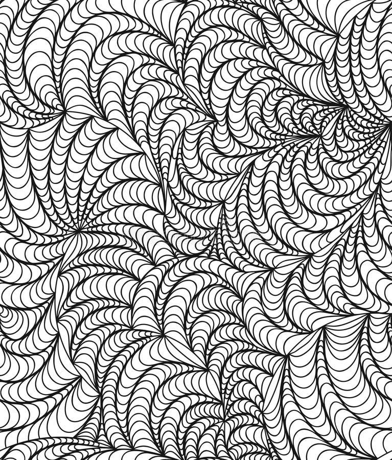 Vector o fundo sem emenda da onda de linhas tiradas garatuja ilustração royalty free