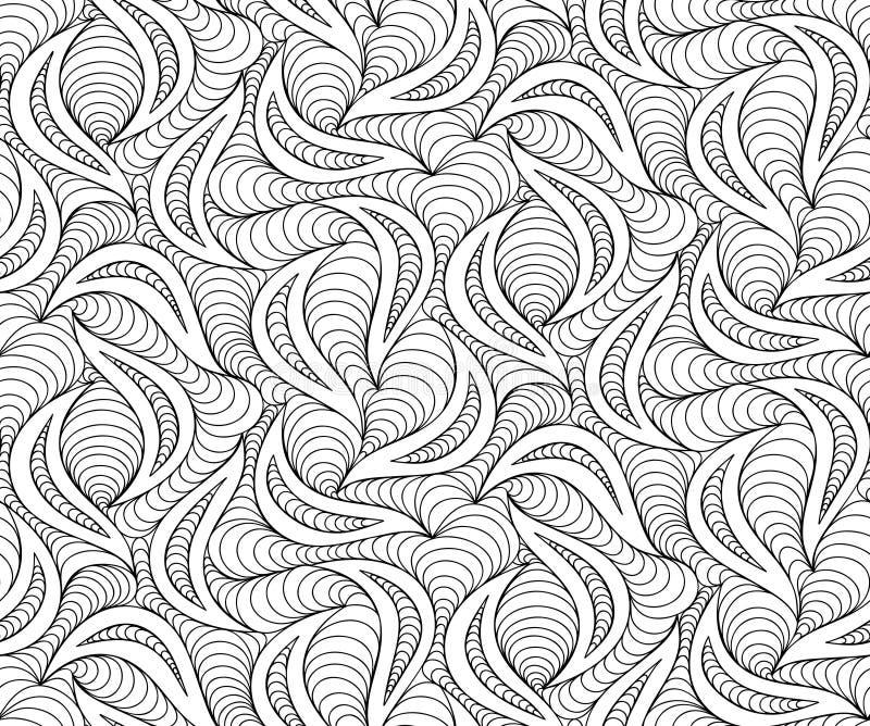 Vector o fundo sem emenda da onda de linhas tiradas garatuja ilustração stock