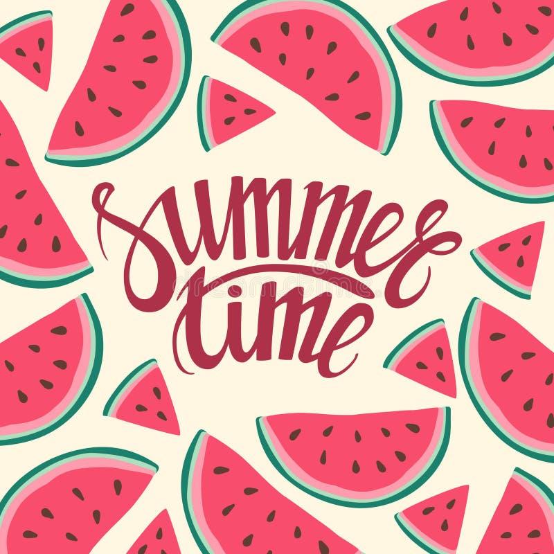 Vector o fundo sem emenda das horas de verão do cartão do fundo do quadro com fatias da melancia ilustração stock