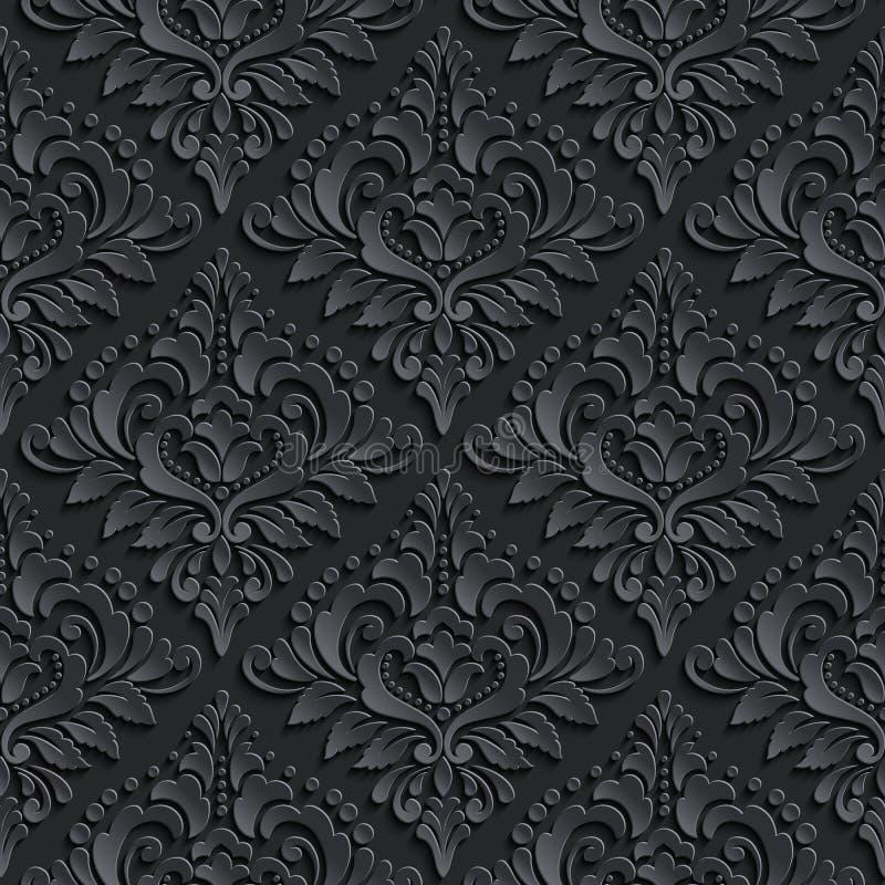 Vector o fundo sem emenda do teste padrão do damasco Elegante ilustração stock