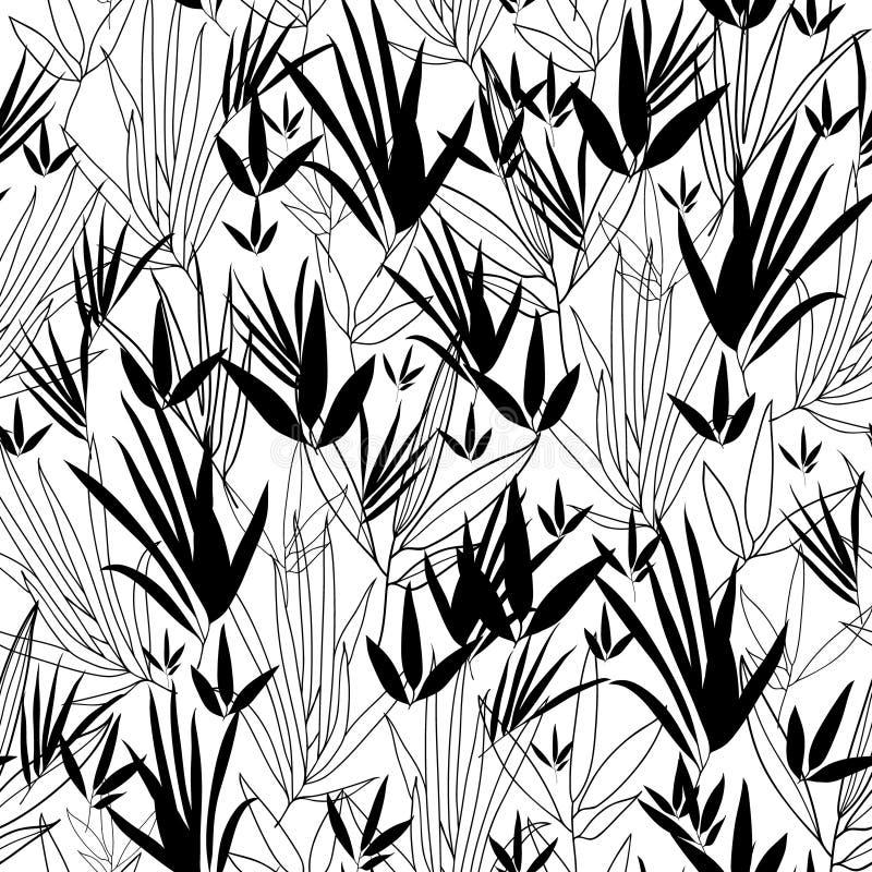 Vector o fundo sem emenda do teste padrão do quimono de bambu asiático preto e branco Grande para a tela cinzenta elegante da tex ilustração do vetor