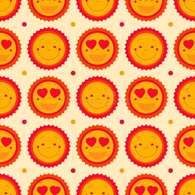 Vector o fundo sem emenda do teste padrão dos emoticons felizes com sóis SU ilustração royalty free