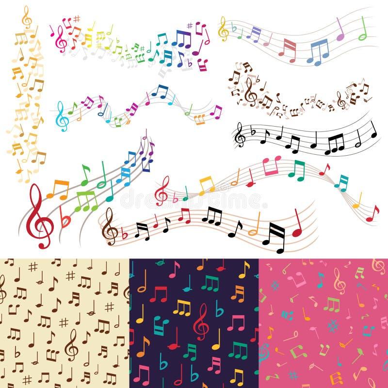 Vector o fundo sem emenda do teste padrão do vetor do fundo da melodia da música das notas da música ilustração royalty free