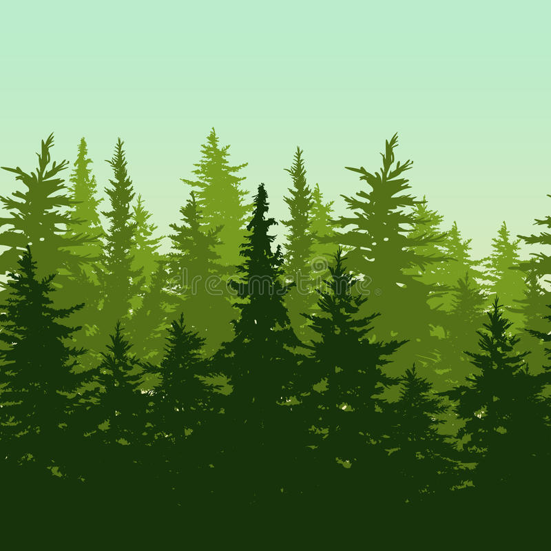 Vector o fundo sem emenda horizontal com pinho ou abeto-tre verde ilustração do vetor