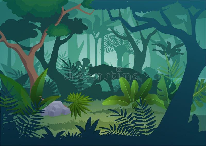 Vector o fundo tropical da floresta úmida da selva dos desenhos animados com o tigre de passeio do jaguar ilustração stock