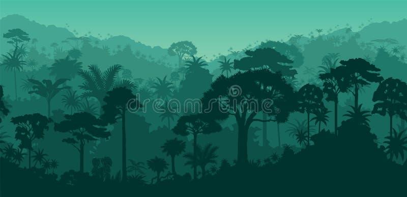 Vector o fundo tropical sem emenda da floresta úmida do Suriname horizontal de Guiana ilustração do vetor
