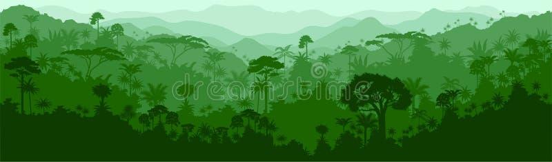Vector o fundo tropical sem emenda da selva de Colômbia Brasil da floresta úmida ilustração royalty free