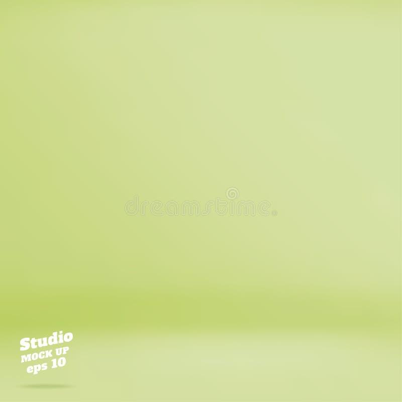Vector o fundo verde pastel vazio da sala do estúdio da cor do cal, Tem ilustração royalty free