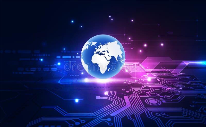 Vector o globo azul no fundo da tecnologia digital, ilustra??o abstrata ilustração stock