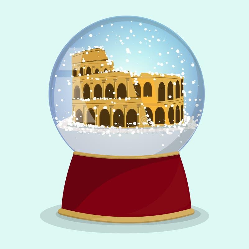 Vector o globo de vidro do Natal com a neve e Roman Coliseum de queda nela roma ilustração royalty free