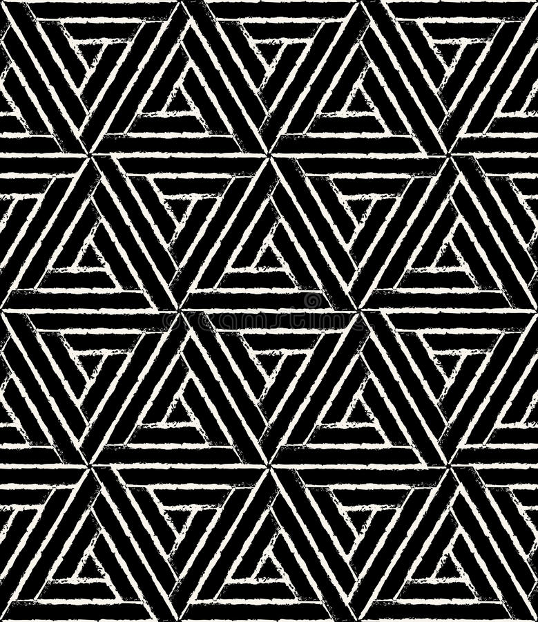 Vector o grunge sem emenda moderno do hexágono do teste padrão da geometria, sumário preto e branco ilustração stock
