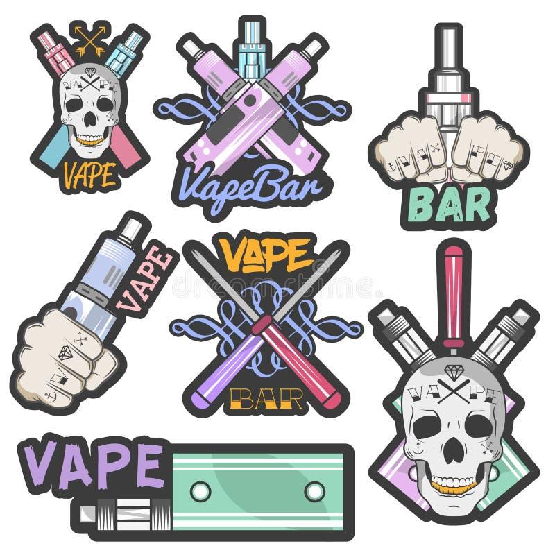 Vector o grupo colorido de etiquetas, de bandeiras, de logotipos, de etiquetas, de emblemas ou de crachás da barra do vape Cigarr ilustração stock