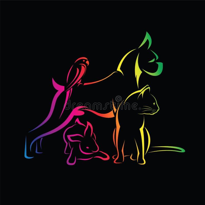 Vector o grupo de animais de estimação - cão, gato, pássaro, rabino ilustração royalty free