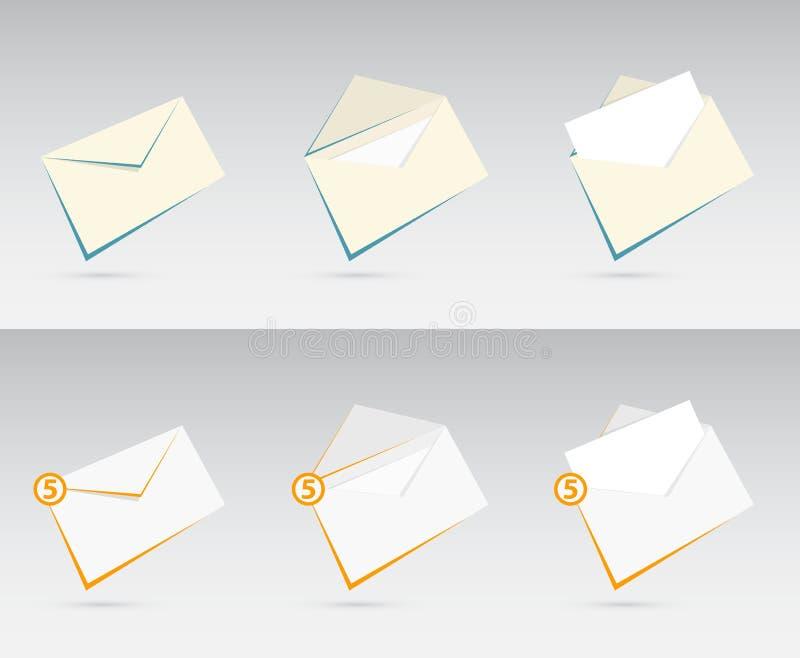 Vector o grupo de envelopes com letras ilustração do vetor