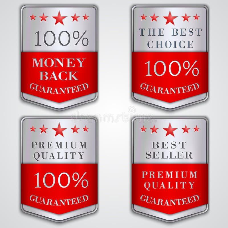 Vector o grupo de etiqueta de prata do crachá com qualidade superior ilustração stock