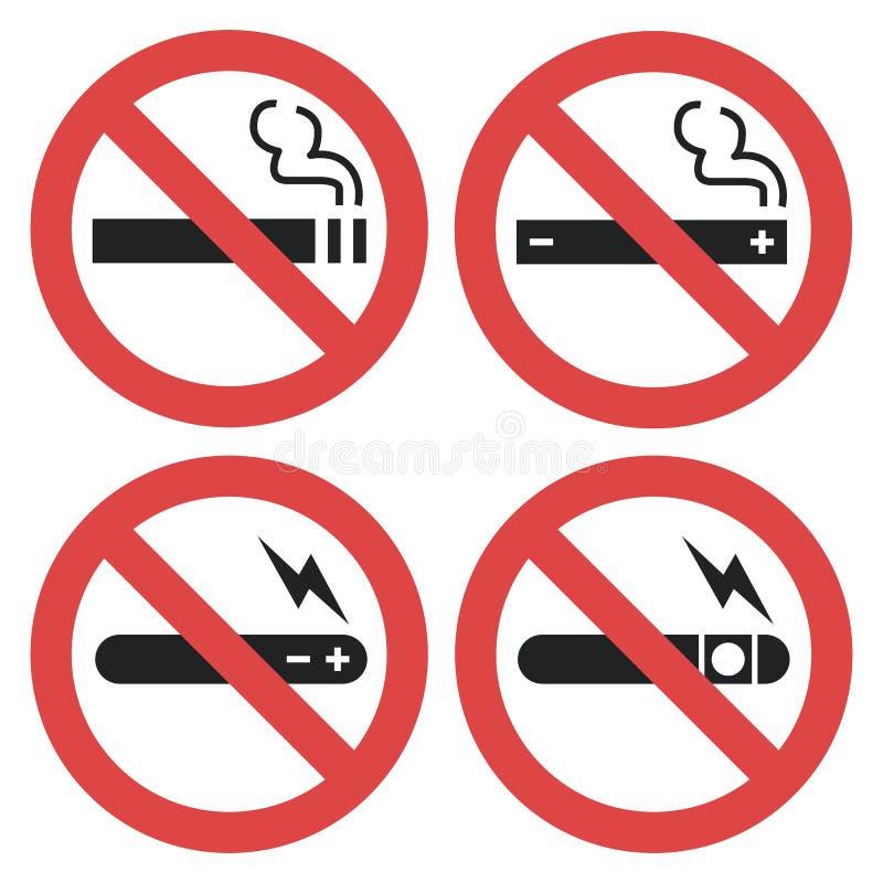 Vector o grupo de símbolo - vaping proibido, fumo eletrônico ilustração royalty free