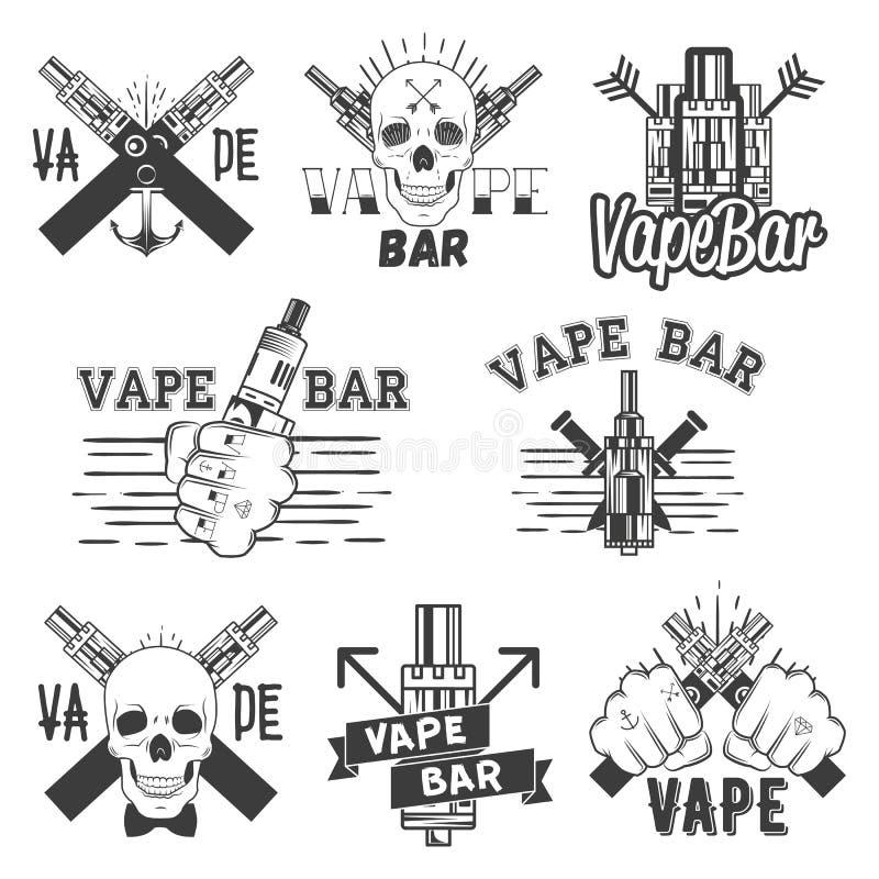Vector o grupo do monochrome de etiquetas, de bandeiras, de logotipos, de etiquetas, de emblemas ou de crachás da barra do vape E ilustração do vetor