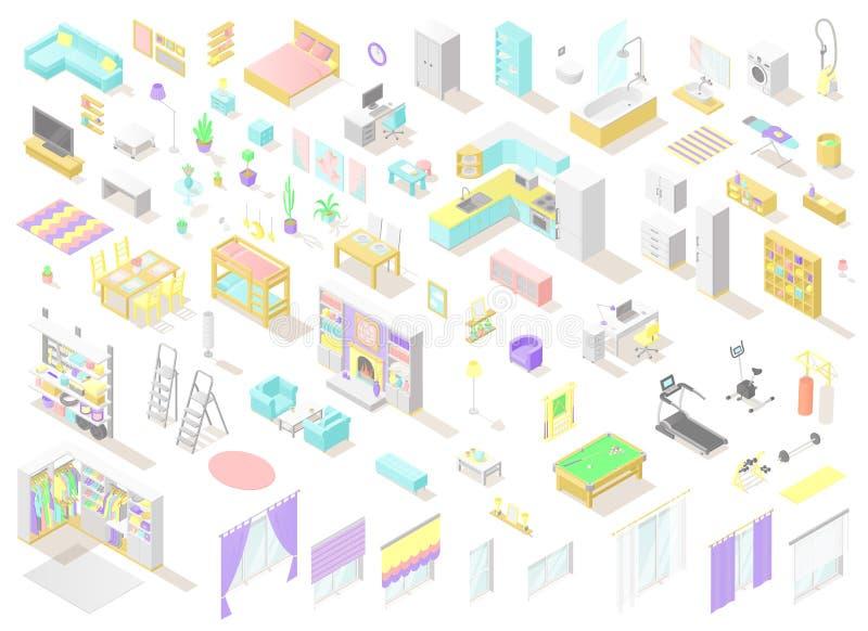 Vector o grupo grande de baixas mobília e decoração isométricas polis para os interiores home imagem de stock