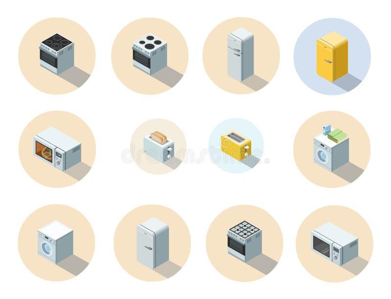 Vector o grupo isométrico de ícone dos aparelhos eletrodomésticos, design de interiores 3d liso ilustração stock