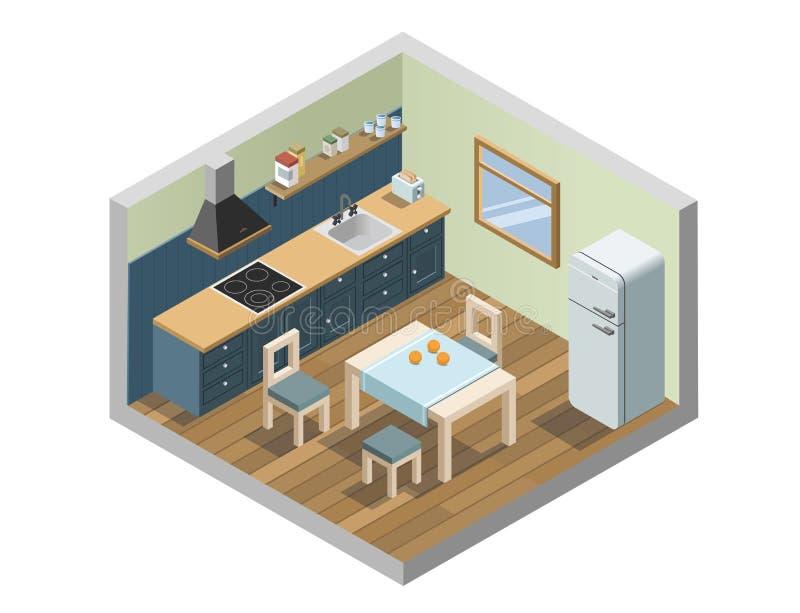 Vector o grupo isométrico de ícones dos aparelhos eletrodomésticos da mobília e da cozinha ilustração do vetor