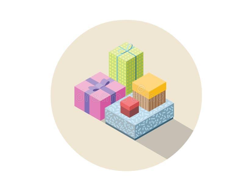 Vector o grupo isométrico de caixas de presente coloridas, presente liso do projeto 3D ilustração do vetor