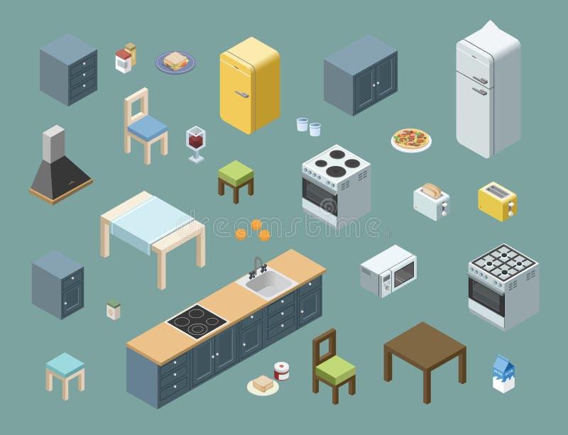 Vector o grupo isométrico de mobília da cozinha, ícones lisos do design de interiores 3d ilustração royalty free
