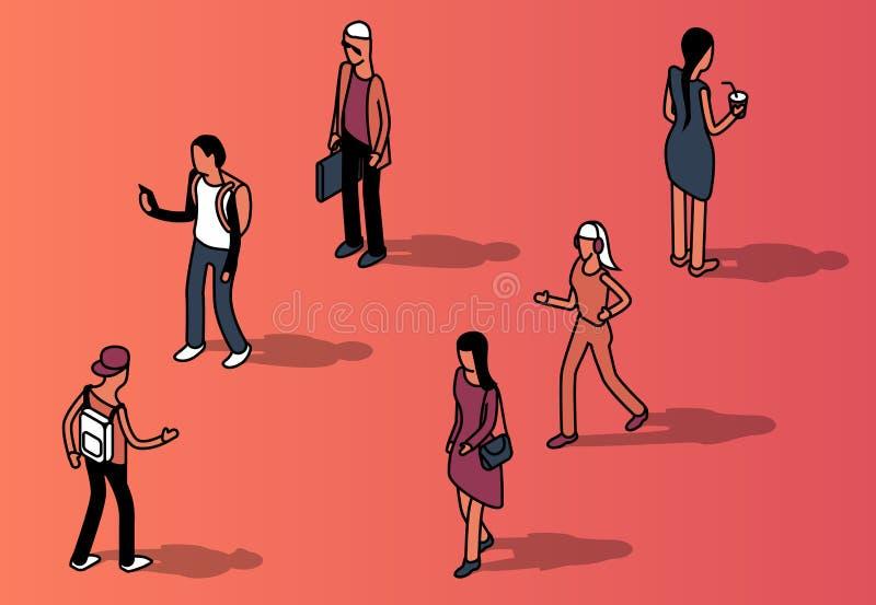 Vector o grupo isométrico de povos sem cara na roupa ocasional ilustração do vetor