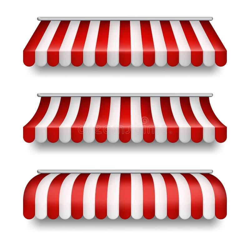 Vector o grupo realístico de toldos listrados para lojas ilustração royalty free