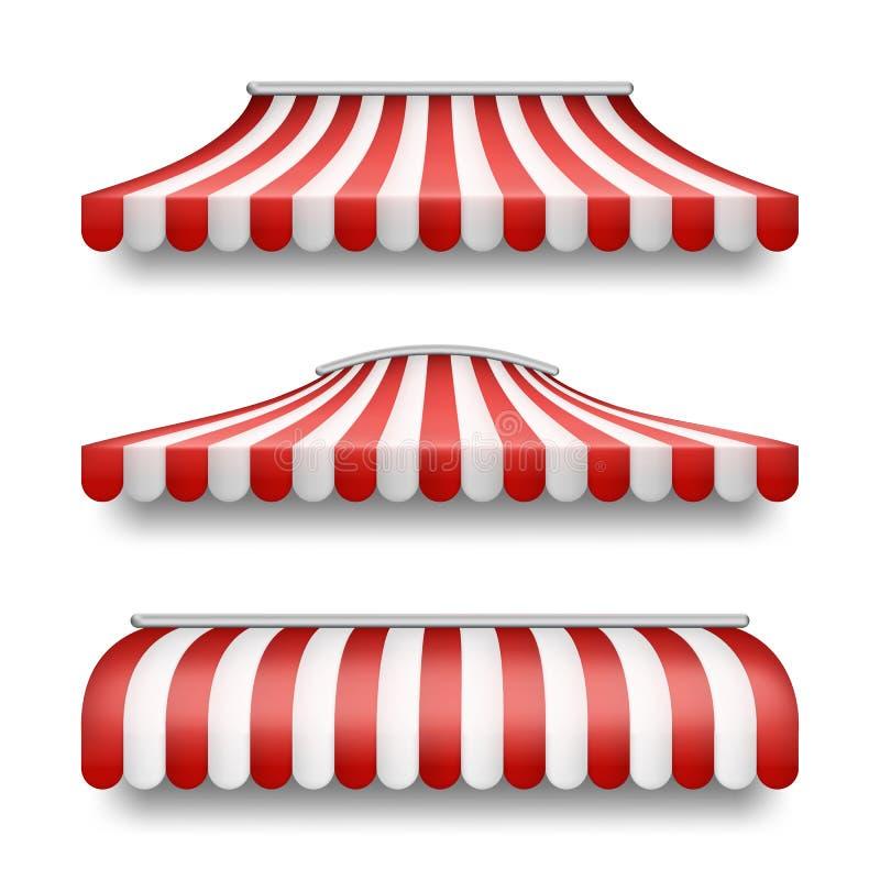 Vector o grupo realístico de toldos listrados para lojas ilustração stock