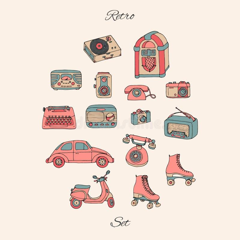Vector o grupo retro com tecnologia antiga, carro, 'trotinette', jukebox, radi ilustração stock