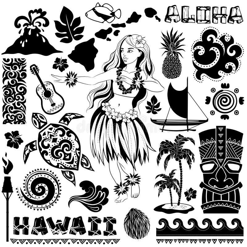 Vector o grupo retro de ícones e de símbolos havaianos ilustração stock