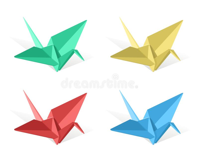 Vector o guindaste de papel do origami ilustração stock