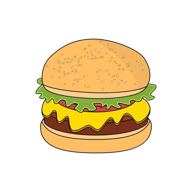 Vector o hamburguer ou o Hamburger isolado no fundo branco ilustração do vetor