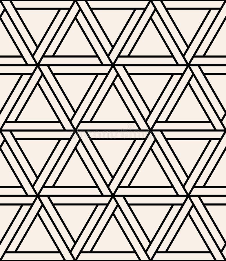 Vector o hexágono sagrado sem emenda moderno do teste padrão da geometria, sumário preto e branco ilustração royalty free