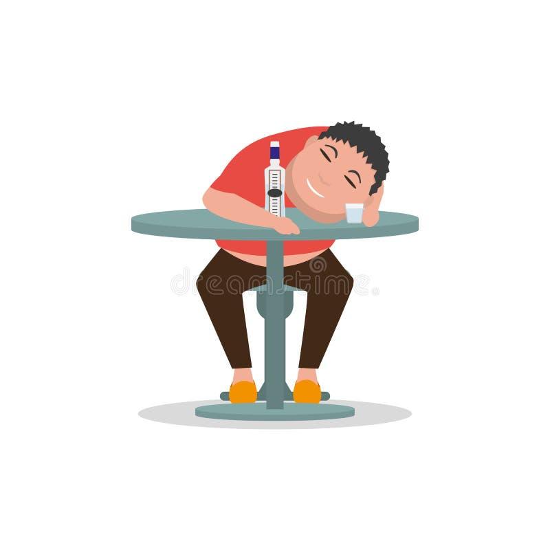 Vector o homem bêbado dos desenhos animados que dorme em uma tabela ilustração royalty free