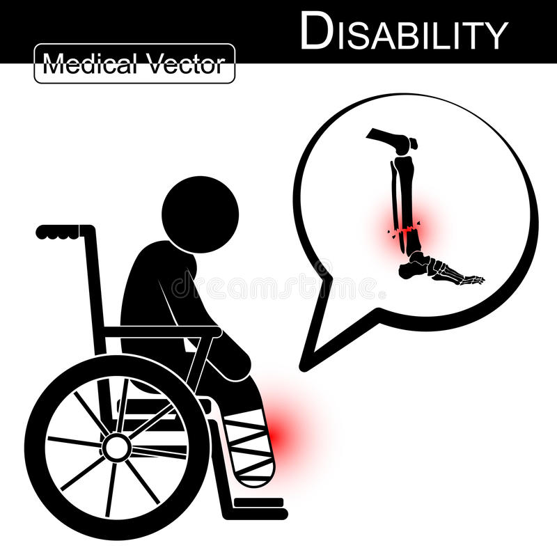 Vector o homem da vara com a fratura do pé na bolha da cadeira de rodas e do texto (conceito) (projeto liso) da inabilidade, da f ilustração royalty free