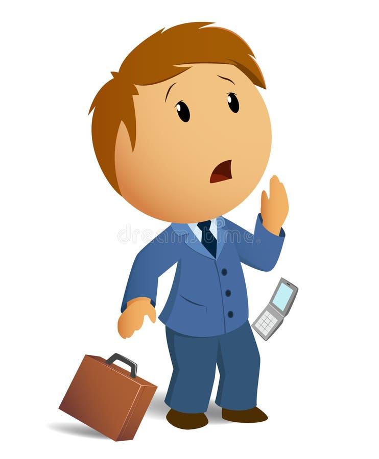 Vector o homem de negócios choc imagem com caso a do throw ilustração royalty free