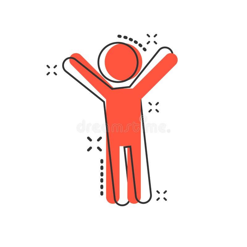 Vector o homem feliz dos desenhos animados com mãos acima do ícone no estilo cômico peop ilustração stock