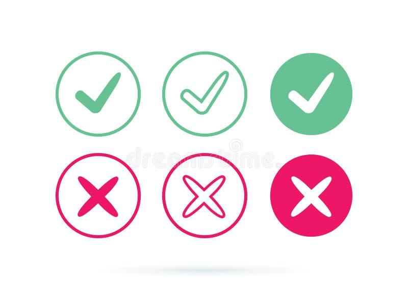 Vector o icono del logotipo de la marca de verificaci?n S?mbolo de la se?al en el ejemplo de color verde Acepte el s?mbolo del ok ilustración del vector