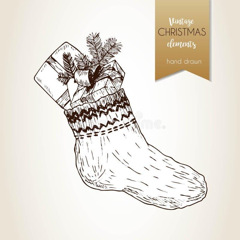 Vector o illustartion tirado mão da peúga com caixas de presente e ramo do abeto Estilo gravado vintage Decoração do Natal ilustração stock