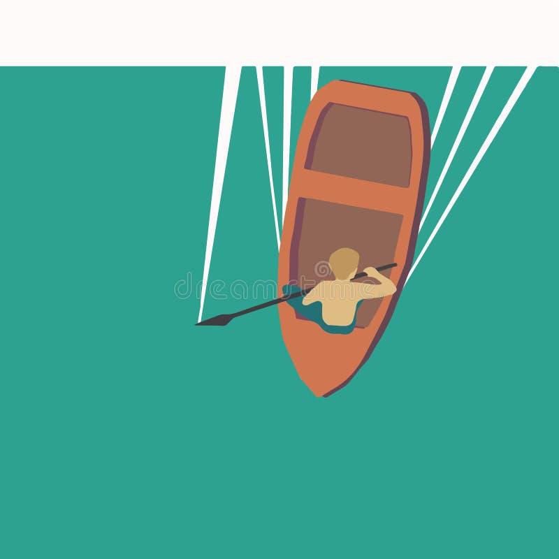 Vector o illustraton de um menino no barco imagem de stock royalty free