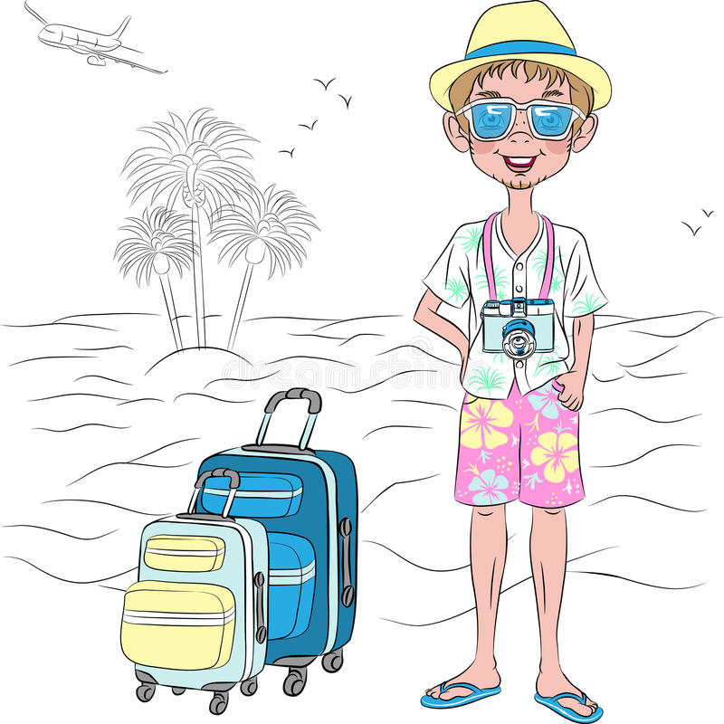 Vector o indivíduo do viajante do moderno na praia do mar ilustração royalty free