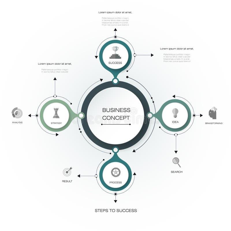 Vector o infographics, molde de papel do diagrama do ciclo 3D ilustração royalty free