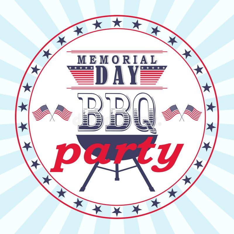 Vector o inseto do partido do assado de Memorial Day, cartão, molde do convite ilustração stock