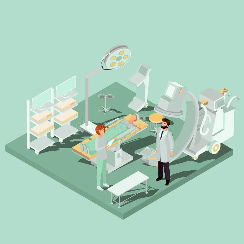 Vector o interior isométrico da sala de operações com equipamento de tabela de funcionamento, médico e de iluminação ilustração stock