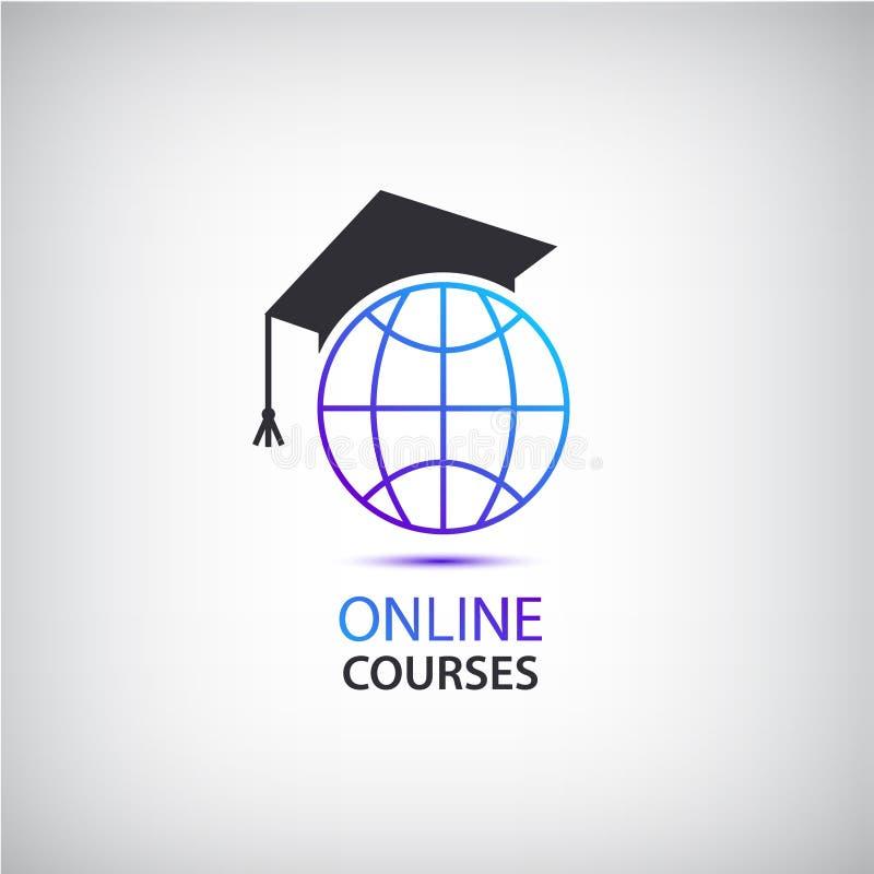 Vector o Internet que aprende, ensinando, logotipo em linha dos cursos, ícone ilustração royalty free