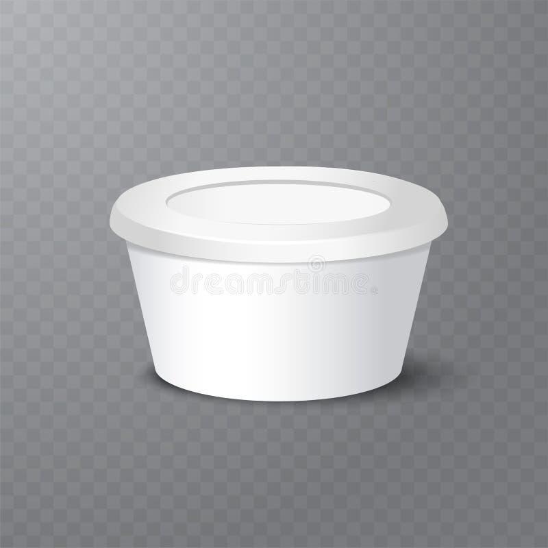 Vector o iogurte realístico, o gelado ou o pacote ácido da nata no backgrounnd branco ilustração 3D Zombaria acima do recipiente ilustração do vetor